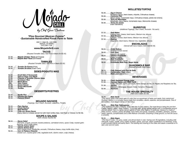 Mojado Grill Menu (plain)